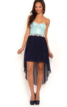Deb Shops #Homecoming strapless sequin corset bodice stone applique waist high low solid chiffon skirt $75.00