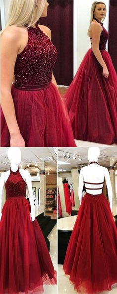 2018 prom dress, long prom dress, wine red prom dress, ball gown