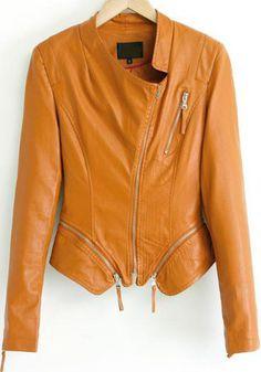 Yellow Long Sleeve Oblique Zipper Crop Jacket pictures