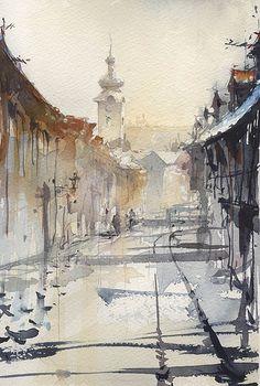 Zagreb-Tkalciceva by Tony Belobrajdic #watercolor jd