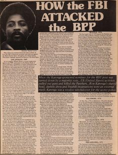 Panther article detailing how Ron Karenga's US Organization corroborated with the FBI to destroy the Black Panther Party.