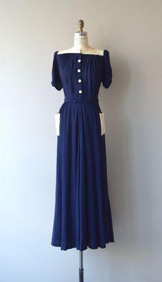 Ortschaft Crêpe-Kleid 1930er Jahre Vintage Kleid von DearGolden