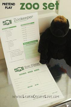 Printable Pretend Play Set: Zoo