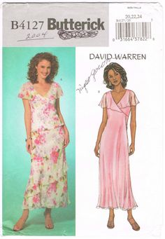 Butterick 4127 - 2000s Sewing Pattern - Size 20/22/24 - David Warren - Misses' Lined Top, Lined Dress And Lined Skirt