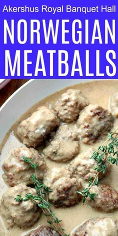 Norwegian Kjøttkaker Meatballs are tender and delicious. Serve with mashed potatoes, seasonal vegetables and Lingonberry jam for a Norwegian dinner at home. This authentic dinner is ready in just Norwegian Cuisine, Norwegian Food, Norwegian Recipes, Meatball Recipes, Beef Recipes, Cooking Recipes, Norwegian Christmas, Oaxaca, Bon Appetit