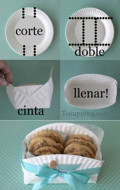 Cómo hacer una caja con un plato de papel. Manualidad caja galleta hecha a partir de un plato de papel una idea muy fácil de hacer, ademas reciclamos los