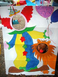 Fun Clown Face Cut Out for Carnival Party. Carnival Crafts, Kids Carnival, Carnival Themed Party, Spring Carnival, School Carnival, Carnival Birthday Parties, Carnival Themes, Circus Birthday, Circus Party