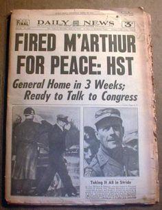 1951 Korea War Newspaper Pres Truman Firesgen MacArthur | eBay