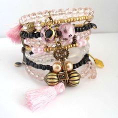 Memory wire bracelet, Rich urban boho chic bracelet,  Charm wrap bangles set