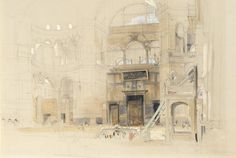 JOHN FREDERICK LEWIS, R.A. 1805-1876 - Description: THE PROPERTY OF A LADY -   THE INTERIOR OF THE MOSQUE OF SANTA SOPHIA, CONSTANTINOPLE -   measurements note 37 by 54 cm., 14 1/2 by 21 1/4 in. -   signed and inscribed l.r.: St. Sophia. Constantinople/ J F Lewis -   pencil and watercolour, heightened with bodycolour