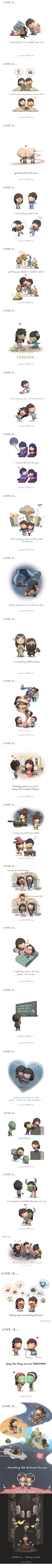 Love is... (Credit: HJ Story) I've been looking for this and I finally found it haha http://9gag.com/gag/adjPBNN?ref=fbp