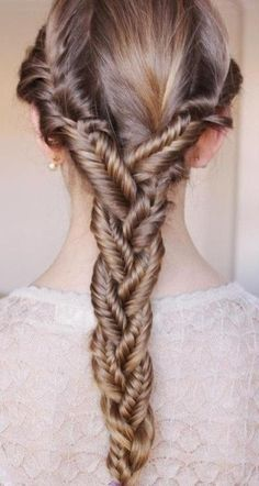 #Braids #hair Three Fishtail braids combined into one braid- awesome!