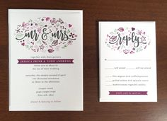 Purple & Mint Doodles Wedding Invitations by StuffnThingsinColor