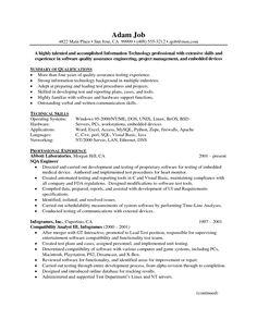cv template qa engineer - Medical School Resume
