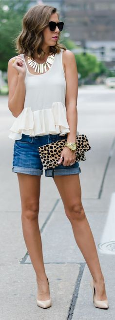Ruffle Hem Blouse Denim Shorts by For The Love Of Fancy