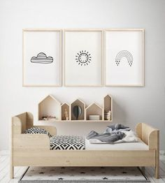 Nursery set of three minimalist weather decor baby wall art set of 3 Scandinavian kids room art, Scandinavian nursery, animal art, Sale - Decoration Kids Bedroom Designs, Kids Room Design, Nursery Design, Design Bedroom, Nursery Art, Bedroom Decor, Bedroom Table, Bedroom Storage, Nursery Prints