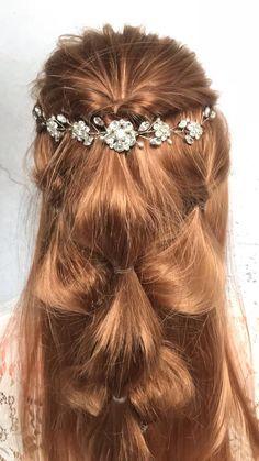 Boho Wedding Hair, Bridal Hair Vine, Wedding Jewelry, Indian Wedding Hairstyles, Bride Hairstyles, Hair Chains, Dulhan Mehndi Designs, Copper Hair, Pearl Headband