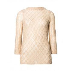 Maglia maniche lunghe, in misto mohair e lurex effetto pizzo, apertura sul retro con bottoni perla. Vestibilità lievemente ad A.119UE1398 BEIGE