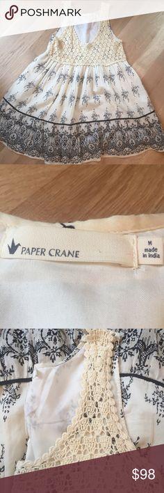 Free People Paper Crane Boho Crochet Cotton Dress NWOT beautiful dress dresses up or down she is a winner Anthropologie Dresses