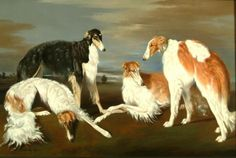 A lovely Borzoi foursome. I'm sorry, but there was no information about the artist