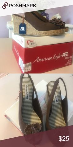 Brown wedges Super cute cork wedge  brand new in the box!!! American Eagle by Payless Shoes Sandals