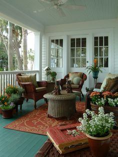 Upper deck. Complimentary colors against white make this outdoor space really pop.