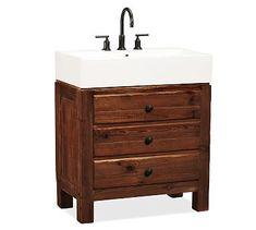 "Simple cabinet-style vanity   ""Mason Single Sink Console - Rustic Mahogany finish #potterybarn"""