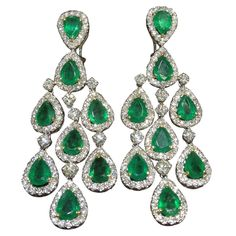 Classic Emerald and Diamond Chandelier Dangle Earrings | From a unique collection of vintage chandelier earrings at http://www.1stdibs.com/earrings/chandelier-earrings/