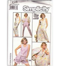 Women's Pull-on Skirt Top Pants Shorts and Jacket Sewing Pattern Sizes 6-8-10 Simplicity 7935 Uncut