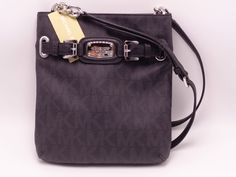 d2b58f52dd76 MICHAEL KORS MK SIGNATURE PVC HAMILTON LARGE CROSSBODY BAG Black NWT Reg  198.00 #MichaelKors #