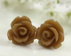 Frosted Brown Rose Ear Posts Bridal Jewelry by TrinketHouse, $6.90