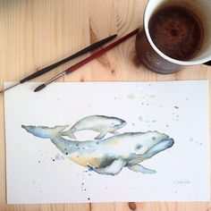 """Watercolor humpback whales by Katrina Pete #whales #watercolor #watercolorpainting #babywhale #nursery #sealife #sea #ocean #water #savethewhale #instaartist #etsy #etsyfinds #etsyartist #painting #illustration #animals #katrinapete #nautical #mombaby"" Photo taken by @thedailywatercolor on Instagram, pinned via the InstaPin iOS App! http://www.instapinapp.com (03/26/2015)"