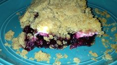 With a crumb crust, a cream cheese crumble topping, and a saskatoon berry filling, this dessert is a delicious cross between a crisp and a crumb cake.