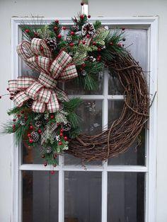 Christmas Wreath  Country Wreath  Grapevine Wreath