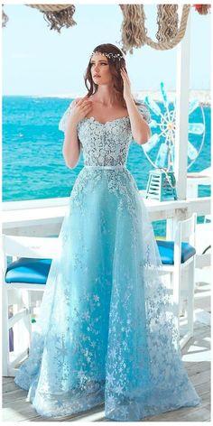 Blue Wedding Gowns, White Bridal Dresses, Best Wedding Guest Dresses, Floral Wedding, Wedding Colors, Wedding Bride, Gown Wedding, Blue Weddings, Lace Wedding