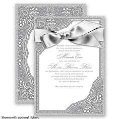 You've found the perfect printed antique lace wedding invitation for your vintage wedding! Both sides of this beautifully designed lace wedding invitation are embellished with intricate details, created in the color of your choice. Invitations by David's Bridal Style Vintage Romance, Pictured in Mercury.