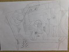 Boceto 4. Este apunte me sirvió para ir encajando los distintos elementos, en esta ocasión, me inspiré en algunas de las composiciones de Juan Gris donde se ayuda de una mesa como detalle para dar distintas perspectivas, por un lado la de la mesa y por otro lado la perspectiva de los elementos expuestos en ella.