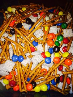 Trail mix! Perfect for kids birthday parties! Pretzels, m&ms, vanilla yogurt covered rasins, and chex mix!!!
