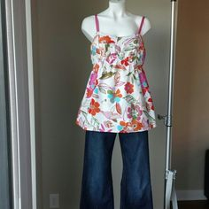 *MOTHERHOOD MATERNITY: Floral Top Pretty multi color floral print top with built in bra and adjustable pink ribbon straps.19 inches in length.   100% Cotton Body 94% Cotton, 6% Spandex Bra Motherhood Maternity Tops