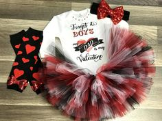 """White bodysuit or shirt with glossy and glitter vinyl """"Forget it boys my dad is my Valentine"""" . Red, black and white full and fabulous tutu included. Matching headband and leg warmers available Disney Baby Clothes, Cute Baby Clothes, Baby Disney, Babies Clothes, Baby First Birthday, 2nd Baby, Baby Love, Cute Outfits For Kids, Toddler Outfits"""