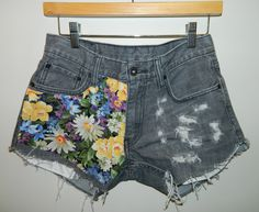 Grey Levi Cutoff Shorts with Floral Detail. $64.99, via Etsy.