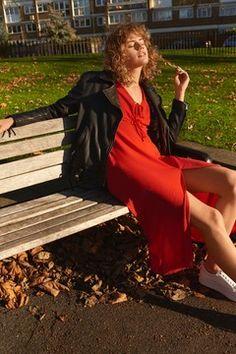 Red Spot Midi Tea Dress
