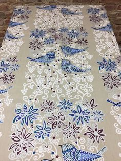 Tablecloth beige with blue birds and white, blue purple decor, silver glitter, sumptuous tablecloth by SiKriDream on Etsy