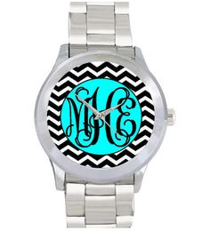 High quality, water resistant, stainless steel monogram watch. The possibilities are endless with this design, it is 100% customizable!    Please provide the following info in the notes section:    1. Background print/colors (chevron, damask, zebra, leopard, quatrefoil, lattice, solid, gingham, e...