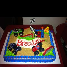 Monster truck cake I made for my sons fourth birthday
