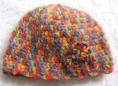 Mohair Cloche Hat Handmade in Crochet - Made & Designed by Amanda Jane for stylish women. Rainbow Colours with 3 Rainbow Flowers and Scallop Trim #handmade