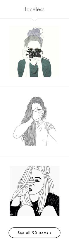 """faceless"" by heather-the-boy ❤ liked on Polyvore featuring doodles, fillers, backgrounds, outlines, art, scribble, saying, quotes, phrase and text"