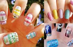 Uñas de gel decoradas, uñas de gel decoradas con stickers.   #coloruñas #corunhas #uñasconbrillo