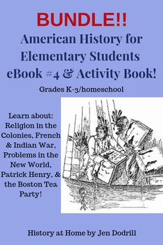 Bundle! Lessons 16-20 - in this bundle your student(s) will use text, vocabulary words, pictures, crafts, maps, games, speeches, & recipes to learn about:  - Religion in the Colonies  - The French & Indian War  - Problems in the New World  - Patrick Henry  - The Boston Tea Party  PLUS: the activity book has hands-on activities including comic strip maker, word search puzzles, coloring pages, etc.  #Americanhistory #activities #elementaryhistory #curriculum #historybundle #ColonialAmerica Social Studies Activities, Hands On Activities, Book Activities, Teaching Resources, Homeschooling Resources, Boston Tea, American History Lessons, Word Pictures, Vocabulary Words