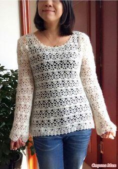 Этот воздушный пуловер связан из тонкой мохеровой пряжи. Размер 80 см обхват груди 62 см длинна и длина рукава 46см. Пряжа мохер(6 мотков)Крючки 5\0 6\0 и 7\0 http://m.bianzhirensheng.com/